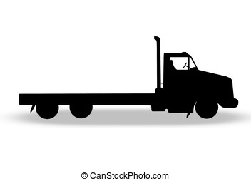 flatbed truck - illustration, silhouette of flatbed truck...