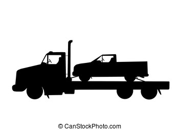 flatbed truck - illustration, silhouette of pick-up truck...