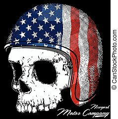 Motorcycle Helmet with American flag with skull Vector...