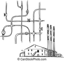 power plant. Factory. - vector illustration. power plant....