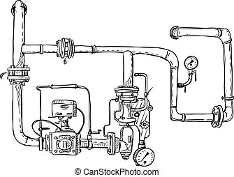 Boiler room. Pipes. Vector sketch.