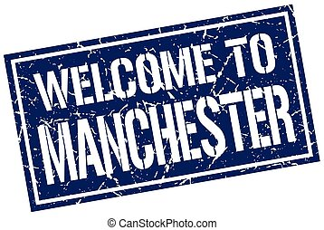 welcome to Manchester stamp