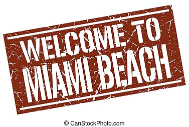 welcome to Miami Beach stamp