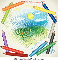 drawing of summer landscape and col - Vector colorful...
