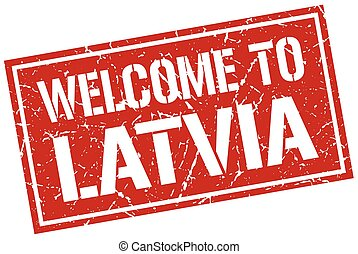 welcome to Latvia stamp