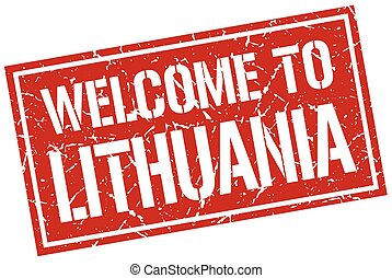 welcome to Lithuania stamp