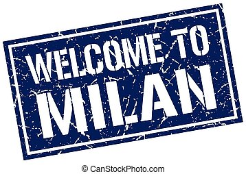 welcome to Milan stamp