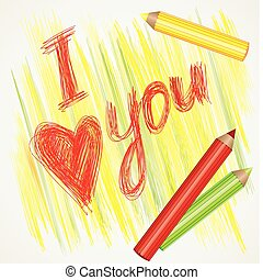 "sign ""I love you\"" and color pencils"