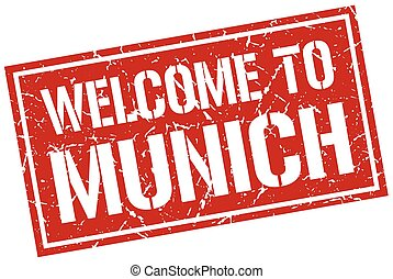 welcome to Munich stamp