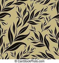 Seamless brown floral pattern with leafs From my big...