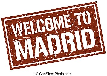 welcome to Madrid stamp