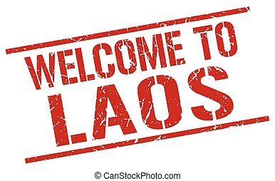 welcome to Laos stamp