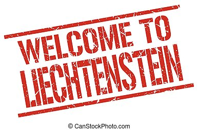 welcome to Liechtenstein stamp