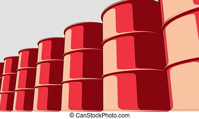 Line of glossy red metal barrels. Cartoon version for...