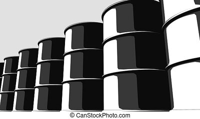Row of black oil barrels. Cartoon version for presentations and reports. 4K seamless loopable animation, ProRes