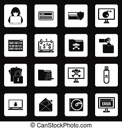 Hacking icons set, simple style - Hacking icons set in...