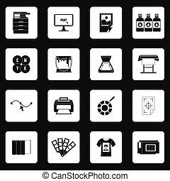 impresión, iconos, Conjunto, en, simple, estilo