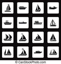 Sailing ship icons set, simple style