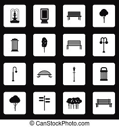 Park icons set, simple style - Park icons set in simple...