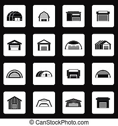 Hangar icons set in simple style Warehouse set collection...