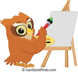 Owl Painting on a Blank Canvas