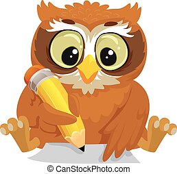 Owl writing on a Blank Paper - Vector Illustration of an Owl...