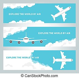 Airplane in cloudy sky vector banners
