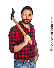 Lumberjack with plaid shirt on white background