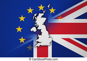 Brexit Concept UK EU Flag And United Kingdom Map - Brexit...