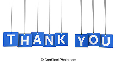 Thank You Sign Blue Paper Tags - Thank you sign and word on...