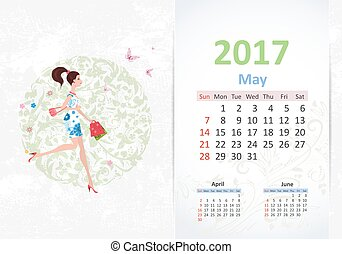 nice young woman walking with shopping bags. fun Calendar for 20