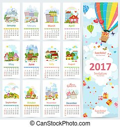 Calendar for 2017 with set of colorful towns. greeting card...