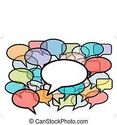 Talk in colors speech bubbles social media - Your message is...