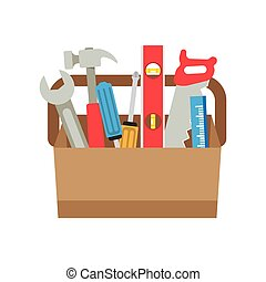 Toolbox with tools icon in flat style Vector illustration of...