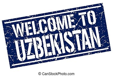 welcome to Uzbekistan stamp
