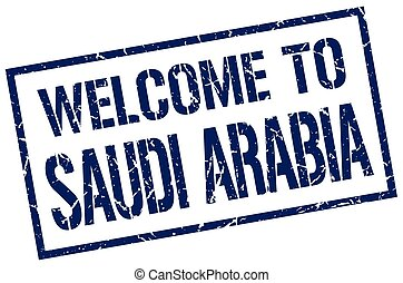 welcome to Saudi Arabia stamp