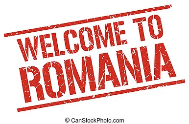 welcome to Romania stamp