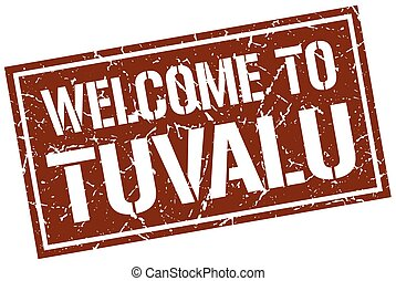 welcome to Tuvalu stamp