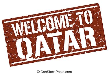welcome to Qatar stamp