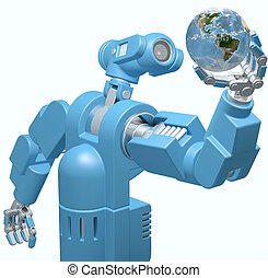 Robot science technology hand holds Earth globe - Alien...