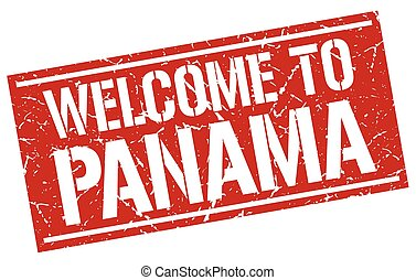 welcome to Panama stamp