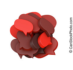 3d illustration with many colored speech bubbles