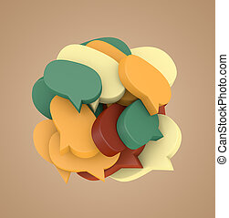 3d illustration with many colored speech bubbles arranged in...
