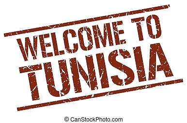 welcome to Tunisia stamp