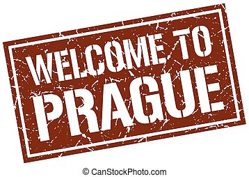 welcome to Prague stamp