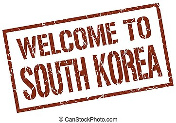 welcome to South Korea stamp