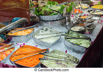salad bar - Salad bar with vegetables in the restaurant,