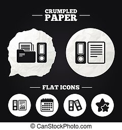 Accounting icons. Document storage in folders. - Crumpled...