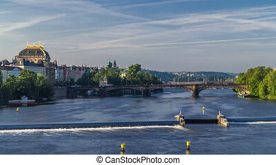 Vltava river timelapse in district Strelecky ostrov with the...