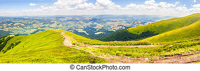 path through panoramic mountain landscape - panoramic...